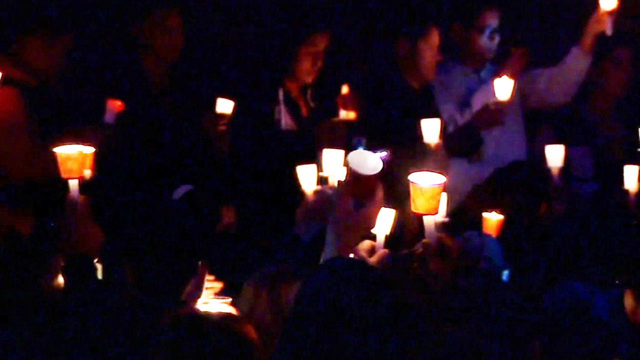 Vigil held for Nohemi Gonzalez who was killed in Paris terrorist attacks, Sunday, November 15, 2015.