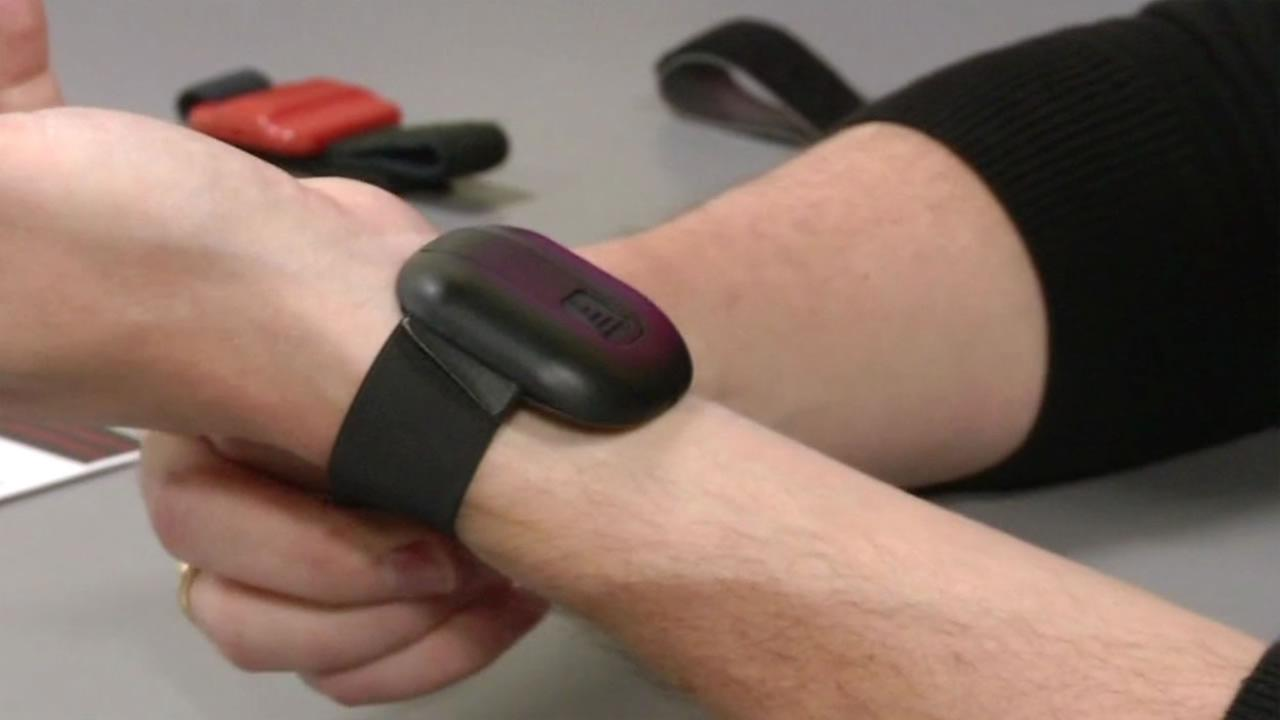 Matthew Raggard Therabracelet CEO shows off his wristband, thats designed to improve athletes reflexes, at the IoT demo day in San Francisco, Calif. Nov. 19, 2015.