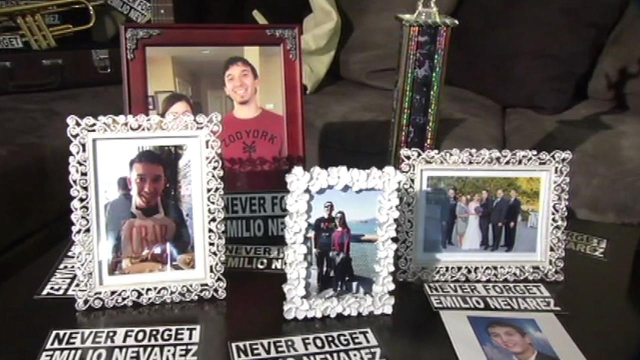 Photos of Emilio Nevarez are seen on November 20, 2015. The 26-year-old was shot and killed on April 5, 2015 in Oakland, Calif.