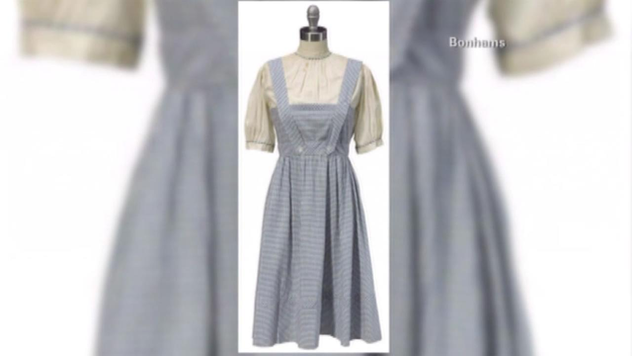 The dress Judy Garland wore in the movie The Wizard of Oz sold for more than $1 million at auction.