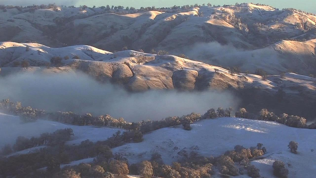 In this image, snow is seen blanketing Blue Canyon in Placer County, Calif. on Wednesday, November 25, 2015.