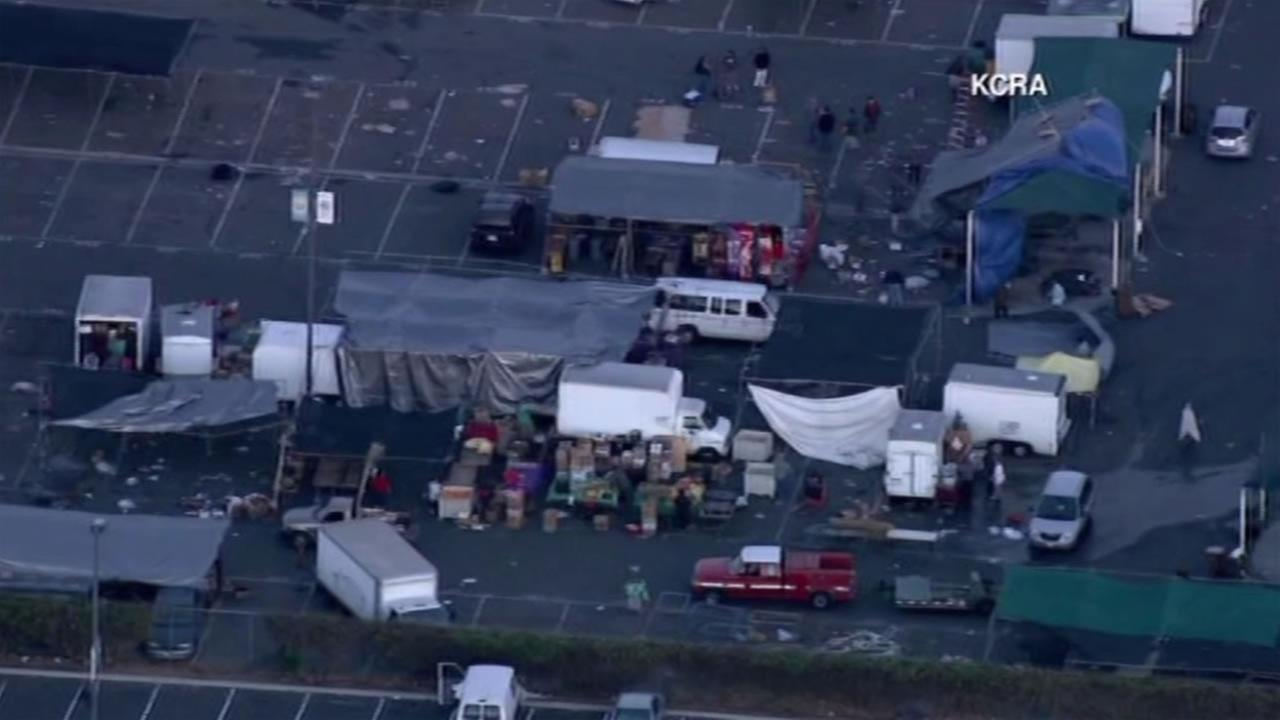 Wind knocked over booths at flea market in Galt, Calif. Nov. 25, 2015, injuring 11 people.