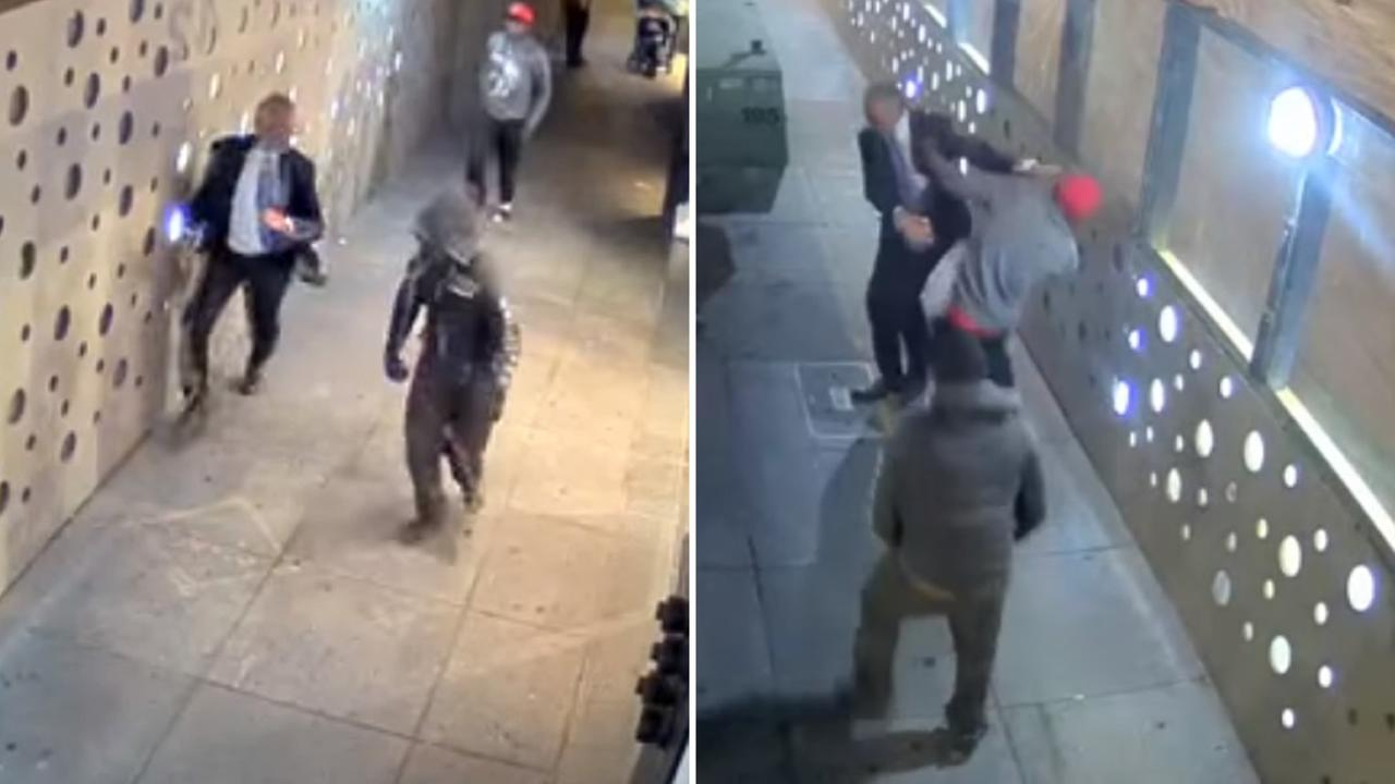 These images from surveillance video show a violent strong-arm robbery in San Francisco on Monday, October 26, 2015.