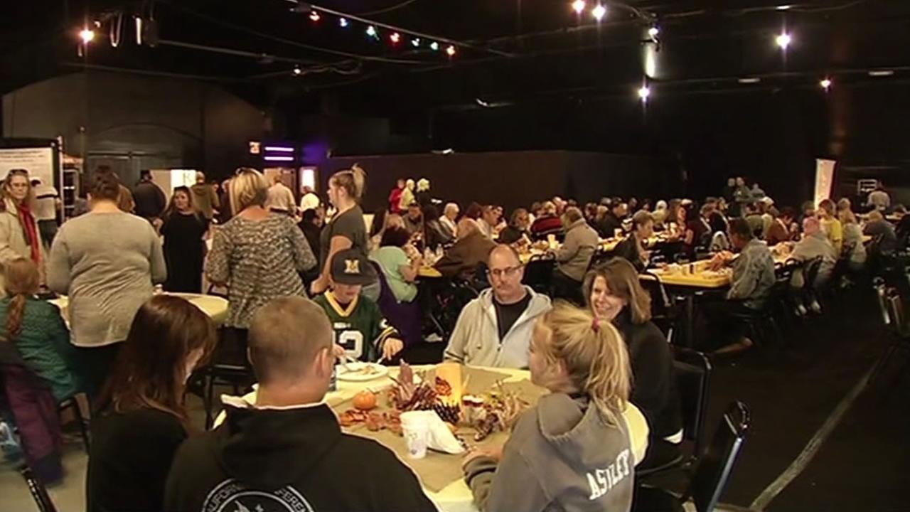 More than 300 people from Lake and Napa counties packed the Twin Pine Casino and Hotel for a Thanksgiving dinner  Nov. 26, 2015 for victims of the Valley Fire.