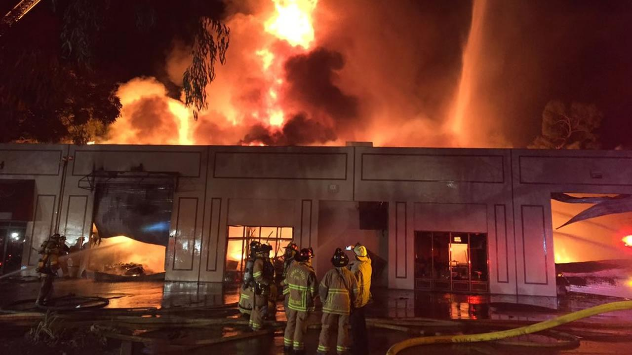 Crews are battling a two-alarm fire burning at a furniture store in Concord, Calif. on Thursday, November 26, 2015.