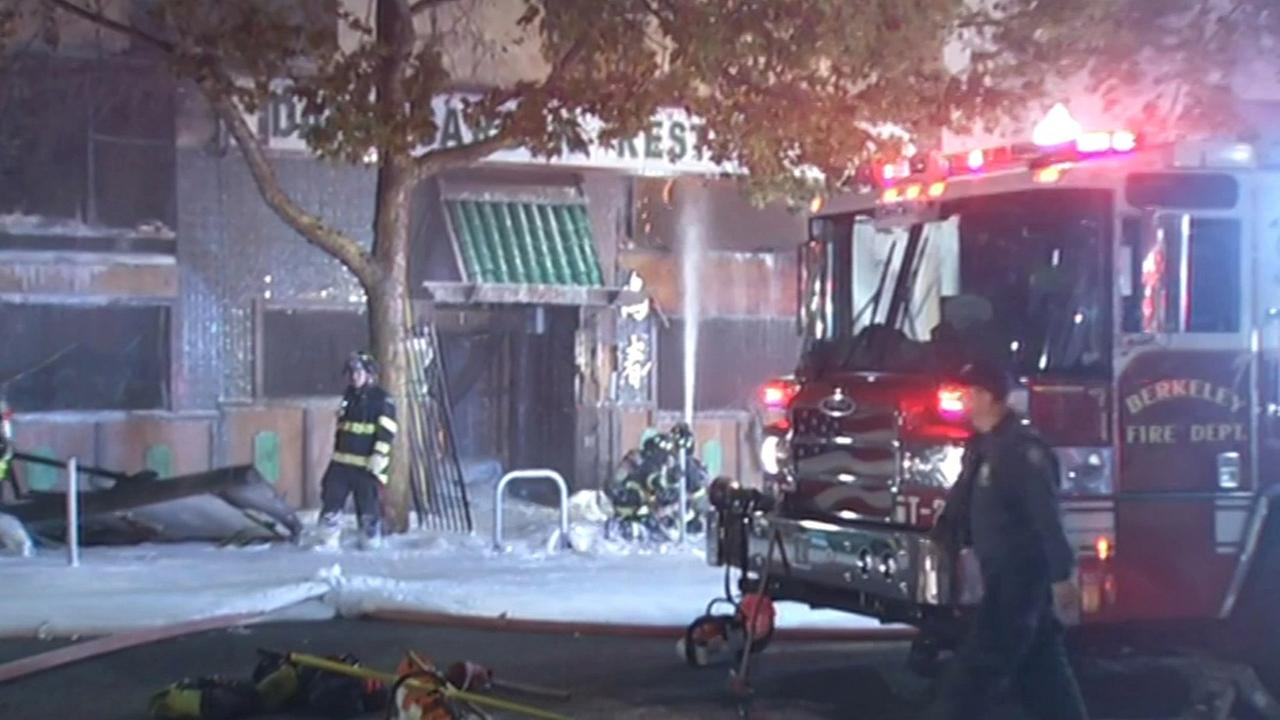 Firefighters battle two-alarm fire at restaurant in Berkeley, Friday, November 27, 2015.