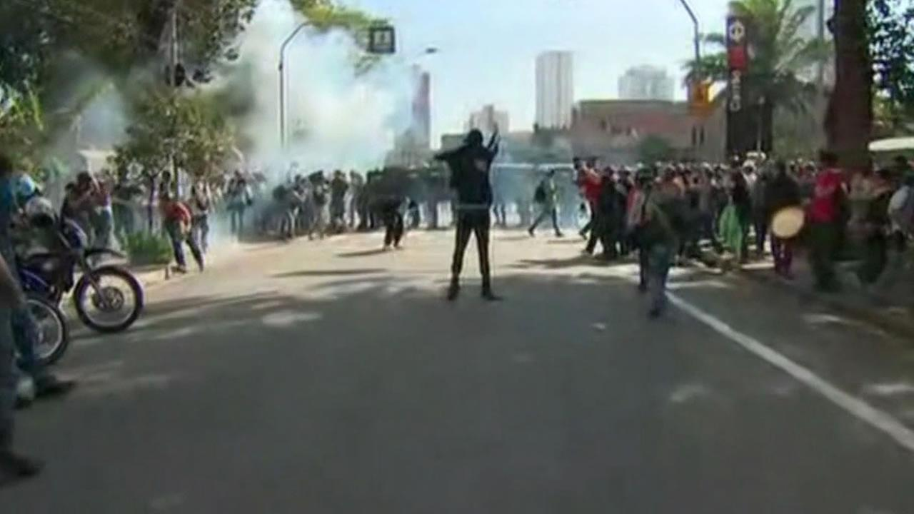 Group protesting the World Cup in Brazil clashes with police.