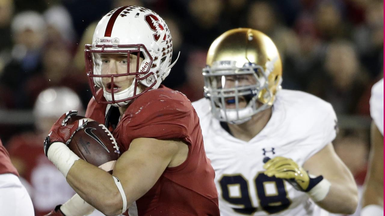 Stanford running back Christian McCaffrey runs against Notre Dame during the first half of an NCAA college football game Saturday, Nov. 28, 2015, in Stanford, Calif.