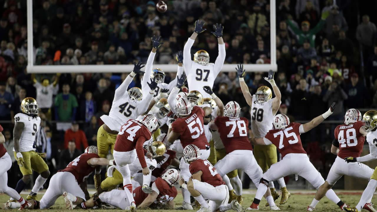 Stanfords Conrad Ukropina (34) hits a 45-yard field goal as time expires to give Stanford a 38-36 win over Notre Dame during an NCAA college football game Saturday, Nov. 28, 2015, in Stanford, Calif.
