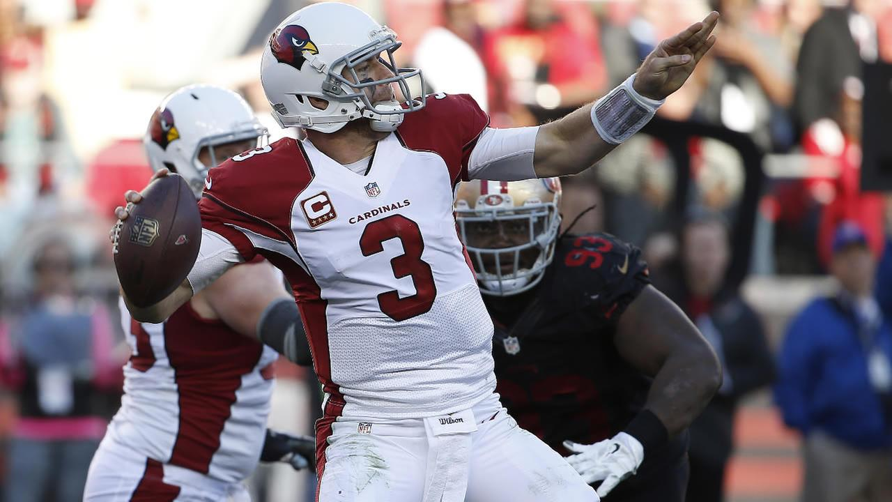 Cardinals Carson Palmer (3) passes against the 49ers during the second half of an NFL football game in Santa Clara, Calif., Sunday, Nov. 29, 2015. (AP Photo/Tony Avelar)