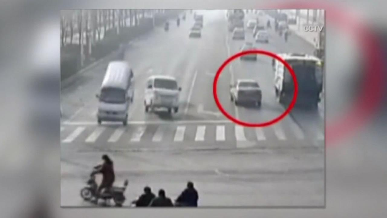 There were some odd images taken from a surveillance camera in China.