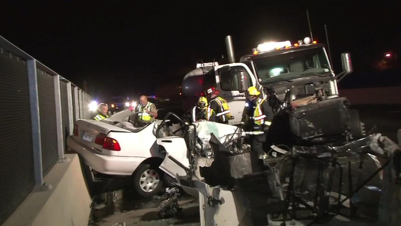 Wrong-way crash on Hwy 101 in San Rafael, December 1, 2015.
