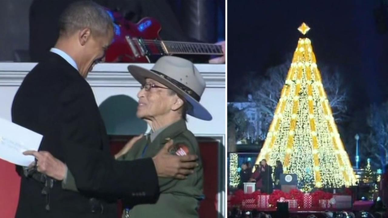 The nations oldest park ranger Betty Soskin, 94, introduced President Obama at the National Christmas Treet lighting in Washington D.C. December 3, 2015.