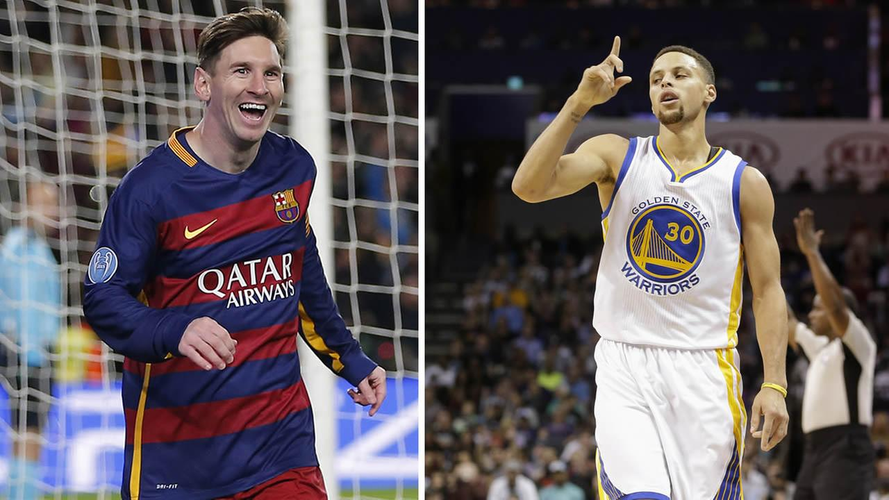 Barcelonas Lionel Messi, left, and Golden State Warriors guard Stephen Curry, right.