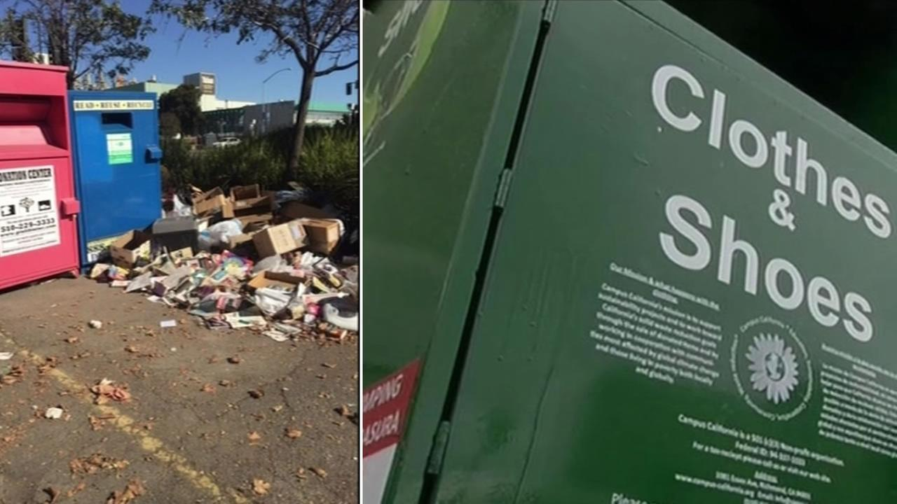 A San Leandro donation bin has become an illegal dumping ground Dec. 4, 2015.