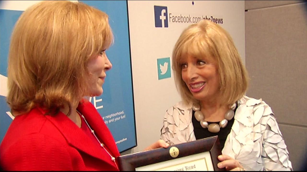 Congresswoman Jackie Speier, D-San Mateo, presented ABC7 Anchor Cheryl Jennings with the honor of recognizing her work in the Congressional Record on Friday, December 4, 2015.