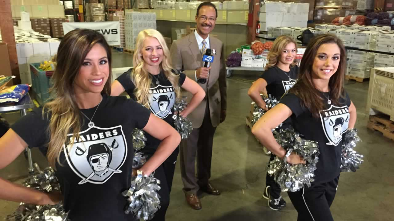"<div class=""meta image-caption""><div class=""origin-logo origin-image ""><span></span></div><span class=""caption-text"">ABC7's Spencer Christian with the Oakland Raiderettes, who volunteer at Alameda County Community Food Bank throughout the year.  </span></div>"