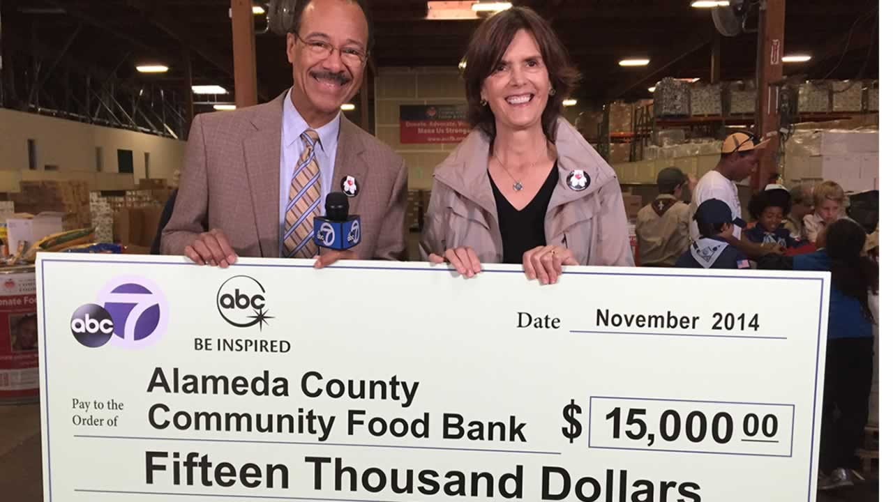 "<div class=""meta image-caption""><div class=""origin-logo origin-image ""><span></span></div><span class=""caption-text"">ABC7's Spencer Christian with Alameda County Community Food Bank Executive Director Suzan Bateson. </span></div>"