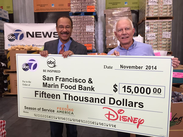 "<div class=""meta image-caption""><div class=""origin-logo origin-image ""><span></span></div><span class=""caption-text"">On Nov. 13, 2014, ABC7's Spencer Christian was at the San Francisco-Marin Food Bank and presented a check for $15,000 on behalf of ABC7 and Disney.</span></div>"