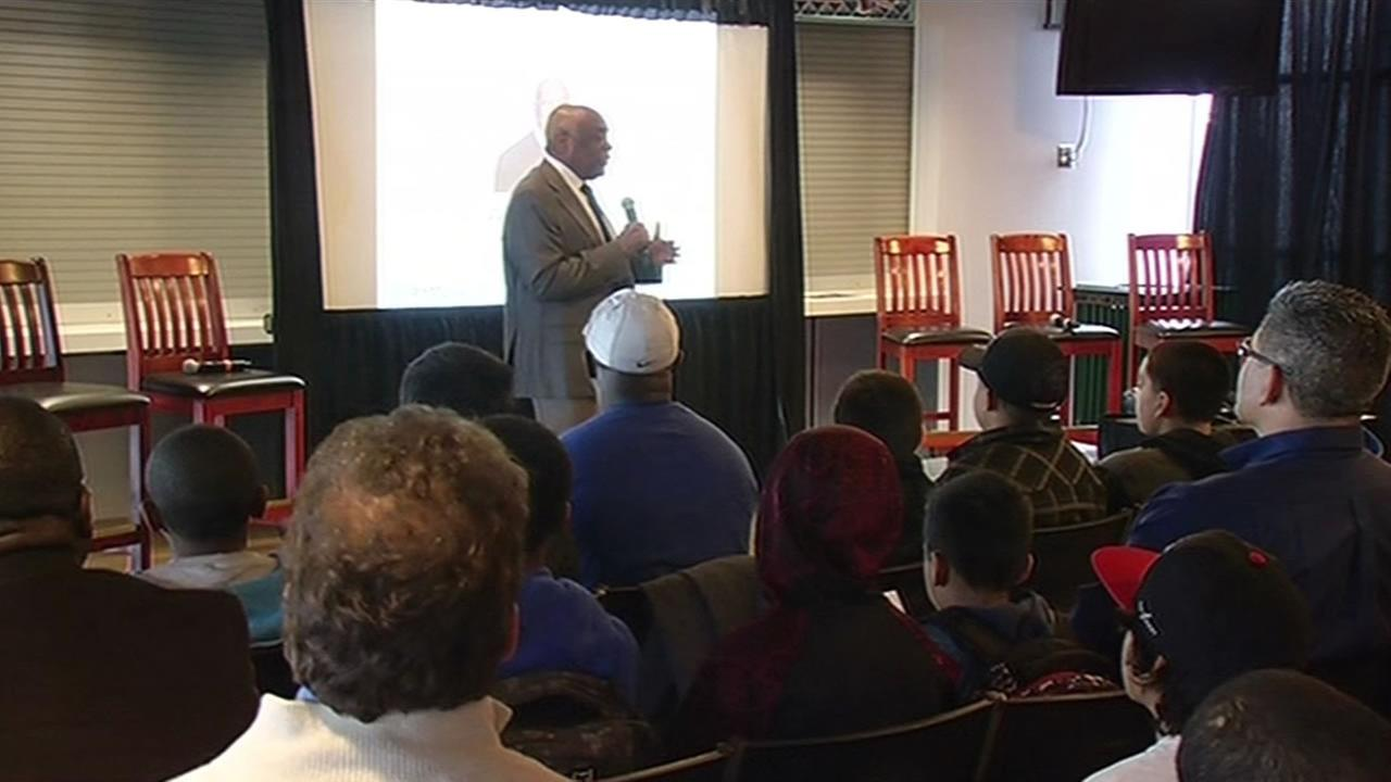 Former Mayor Willie Brown speaks to a group of middle school boys at a leadership summit at AT&T Park in San Francisco on Tuesday, December 8, 2015.