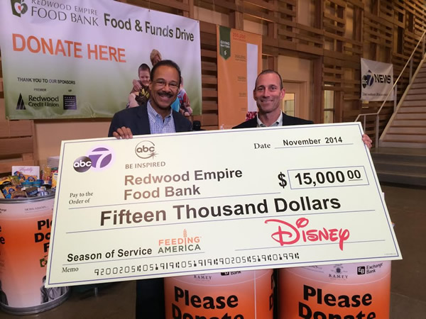 "<div class=""meta image-caption""><div class=""origin-logo origin-image ""><span></span></div><span class=""caption-text"">On Nov. 20, 2014, ABC7's Spencer Christian was at the Redwood Empire Food Bank in Santa Rosa and presented a check for $15,000 on behalf of ABC7 and Disney.</span></div>"