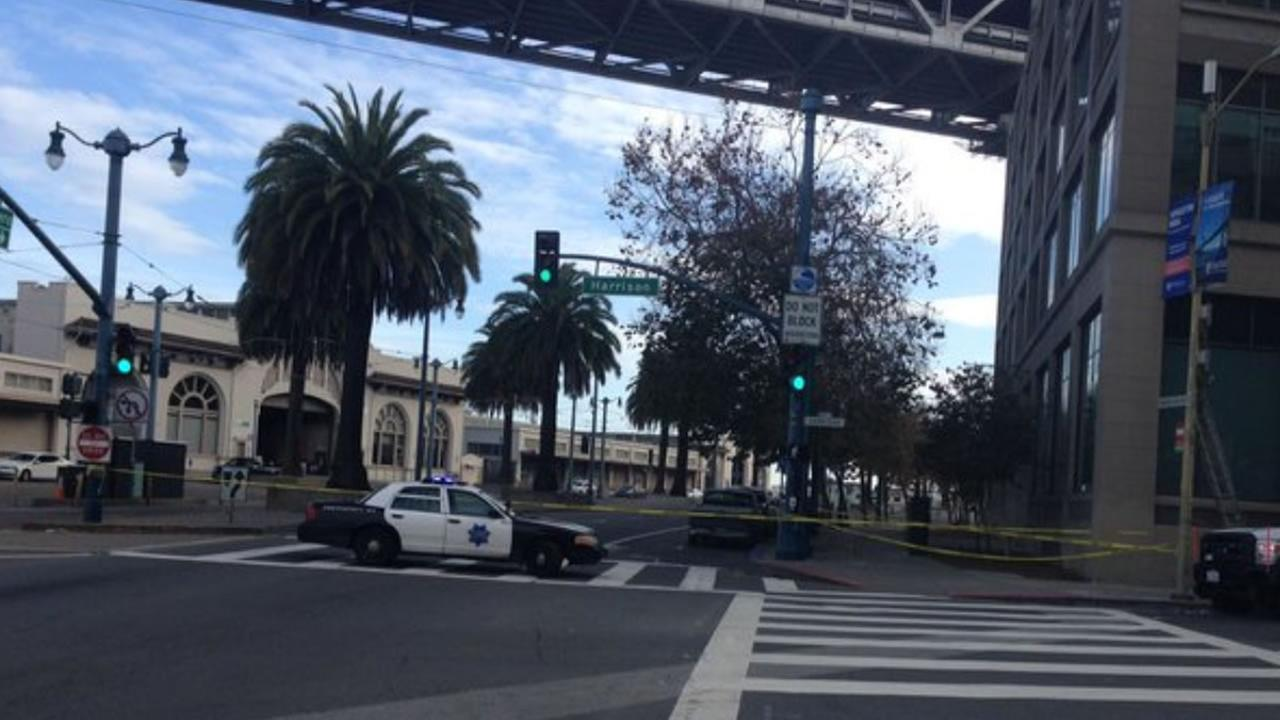 A suspicious package prompted the closure of the Embarcadero at Harrison Street in San Francisco on Saturday, December 12, 2015.