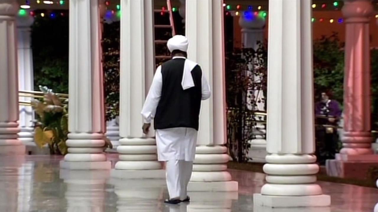 A Sikh man walks through the halls of a Gurdwara in San Jose, Calif. on Saturday, December 12, 2015.