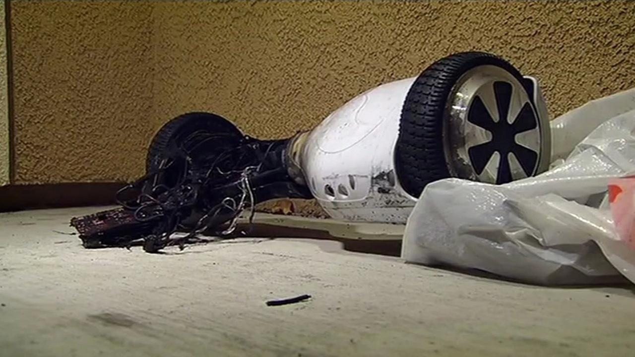 Hoverboard catches fire at Brentwood home, Monday, December 15, 2015.