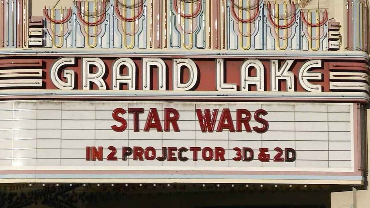 Grand Lake Theatre changed its marquee to promote Star Wars: The Force Awakens in Oakland, Calif. on Wednesday, December 16, 2015.