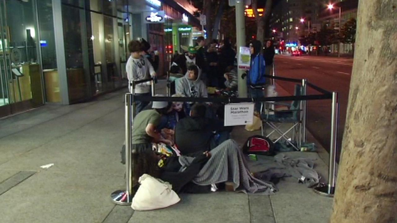 Line for Star Wars The Force Awakens outside the Metreon in San Francisco, Thursday, December 17, 2015.