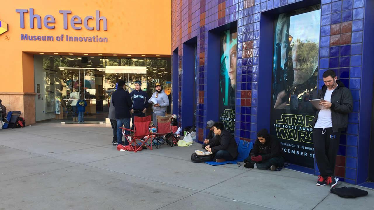Star Wars fans wait in line outside the Tech Museum in San Jose, Calif. on Thursday, December 17, 2015.KGO-TV/Jonathan Bloom