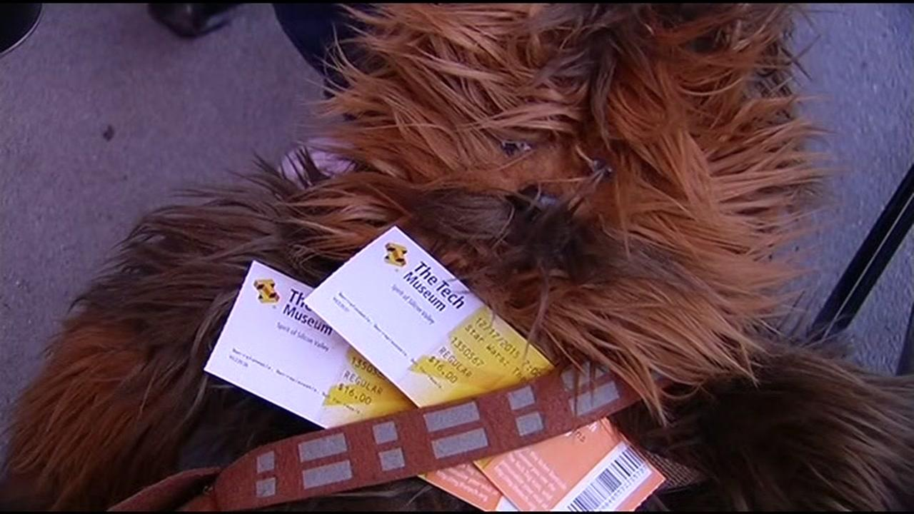 Chewbacca holds Star Wars tickets outside the Tech Museum in San Jose, Calif. on Thursday, December 17, 2015. KGO-TV/Jonathan Bloom