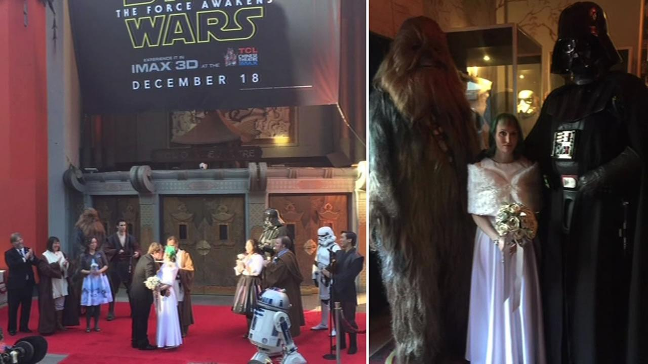 Star Wars fans Andrew and Caroline got married outside of TCL Chinese Theater in Hollywood, Calif. on Thursday, December 17, 2015.KGO-TV