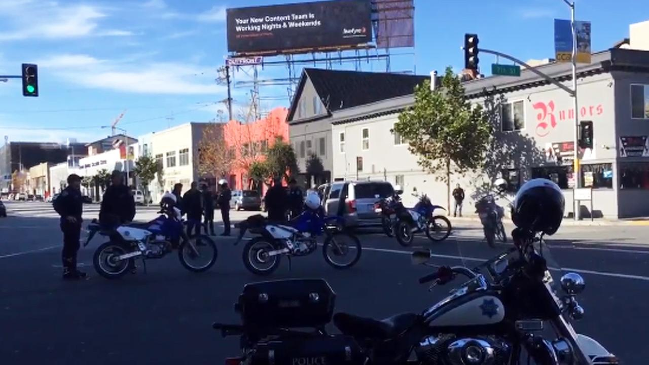 San Francisco police motorcycle officer injured in crash with minivan, Wednesday, December 23, 2015.