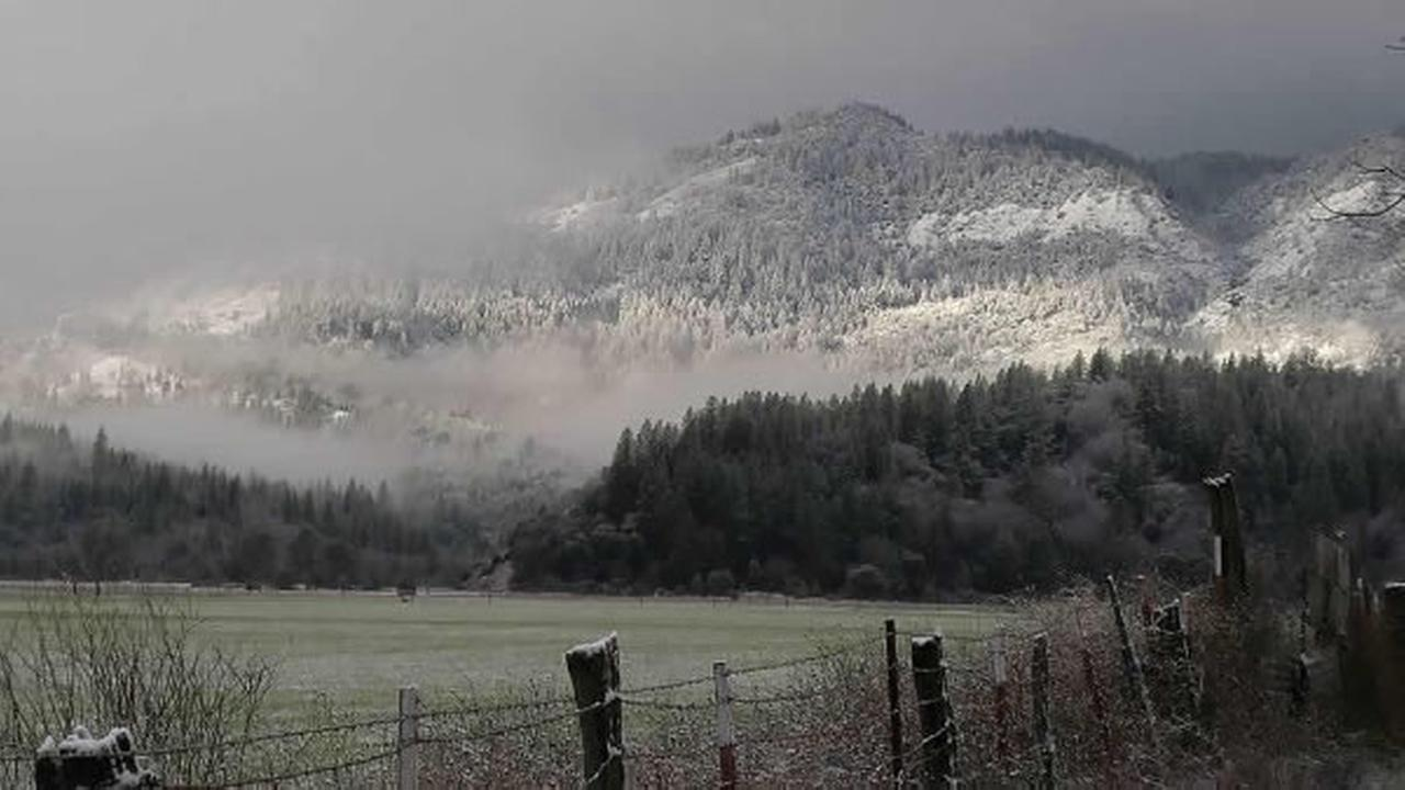 Mountains are covered in snow in Covelo, Calif, on Thursday, December 24, 2015.
