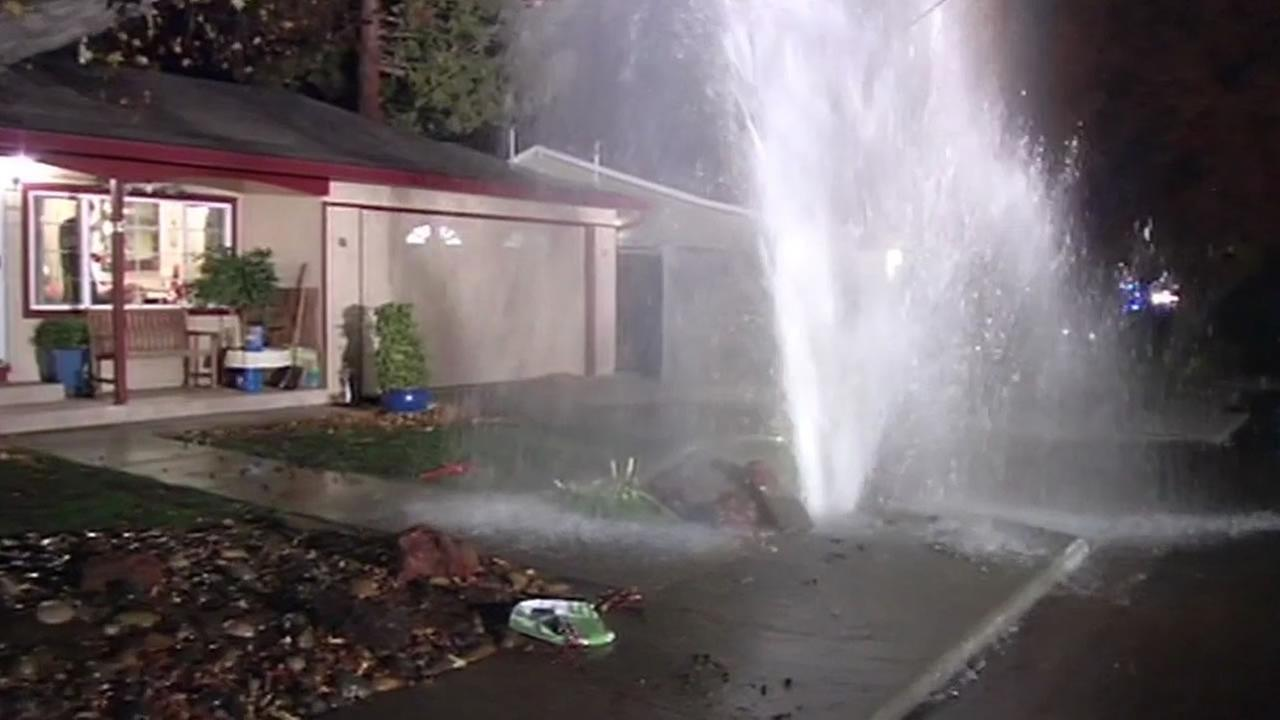 water main break in front of Concord home