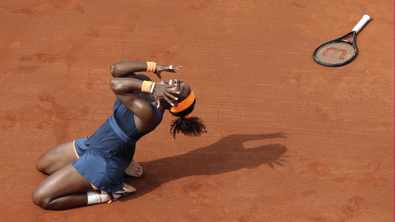 FILE: Serena Williams, of the U.S, celebrates as she defeats Russias Maria Sharapova in the Womens final of the French Open on Saturday, June 8, 2013 in Paris.