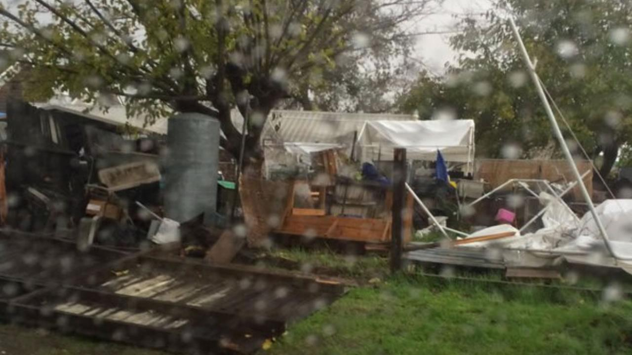 The aftermath of a small tornado that hit Modesto, Calif., on Thursday, December 24, 2015.