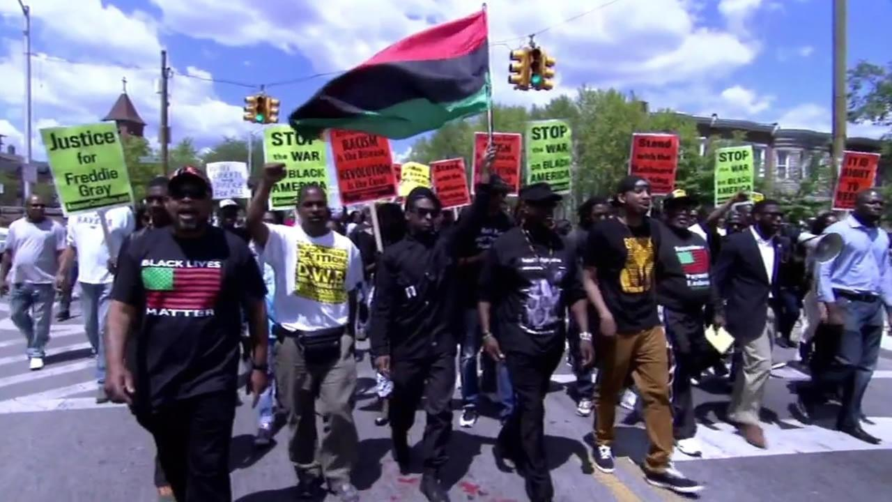 This undated image shows demonstrators marching to protest after Freddie Gray was shot and killed by police in Baltimore, Maryland on April 19, 2015.