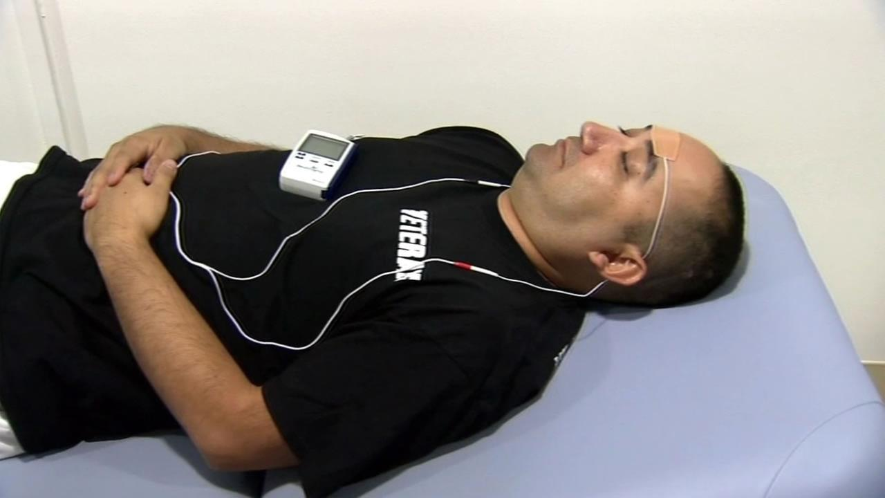 Ron Ramirez, a veteran, is seen trying a new treatment that stimulates the triageminal nerve to end the symptoms of is post-traumatic stress disorder.