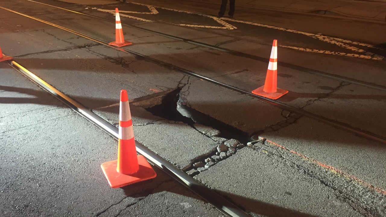 A sinkhole in San Franciscos Noe Valley neighborhood on Thursday, December 31, 2015.
