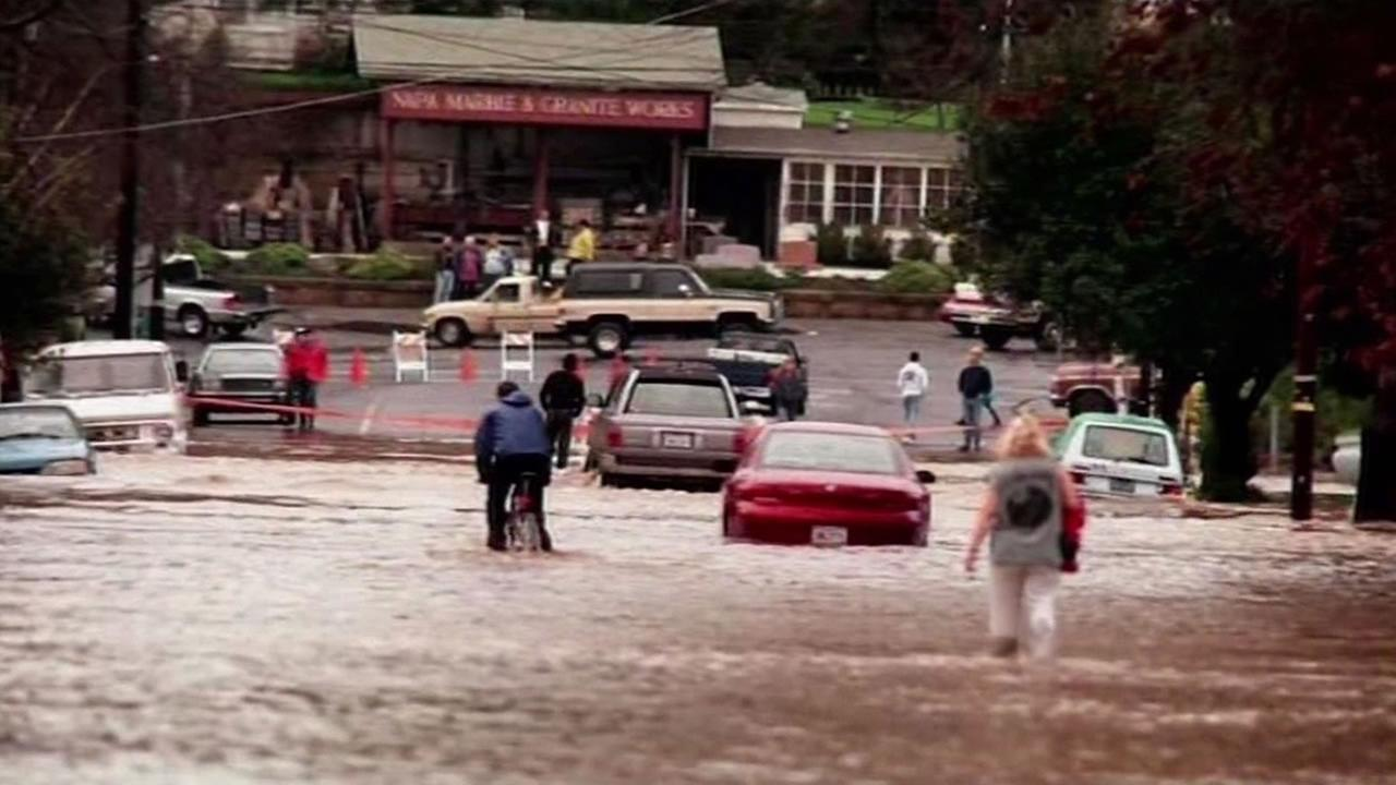 This image from January 1, 2005 shows flooding in Napa, Calif.