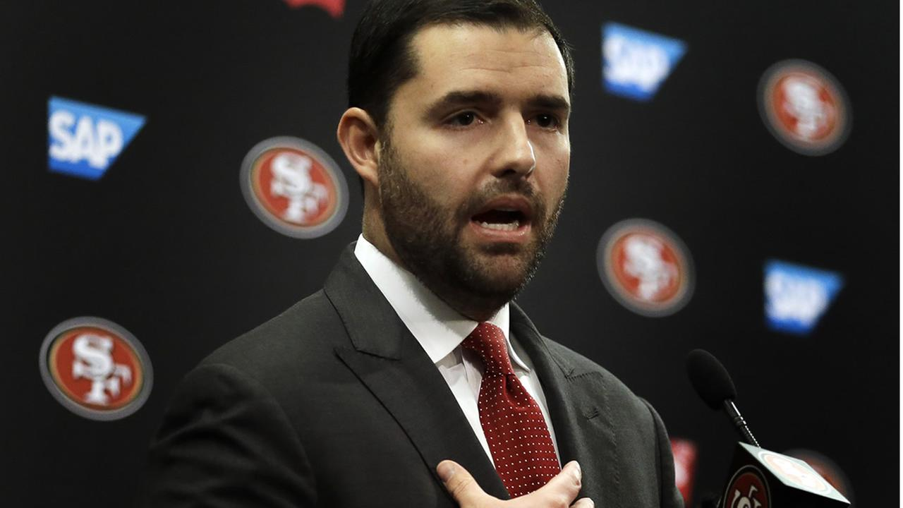 San Francisco 49ers Chief Executive Officer Jed York gestures while speaking to reporters during a media conference Monday, Jan. 4, 2016, in Santa Clara, Calif. (AP Photo/Ben Margot)