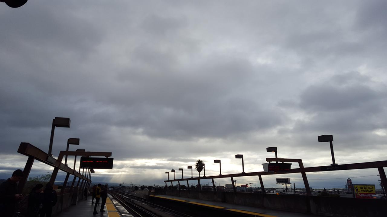 Heres a look at the clouds over the Fruitvale BART station in Oakland, Calif. on Tuesday, January 5, 2016.KGO-TV
