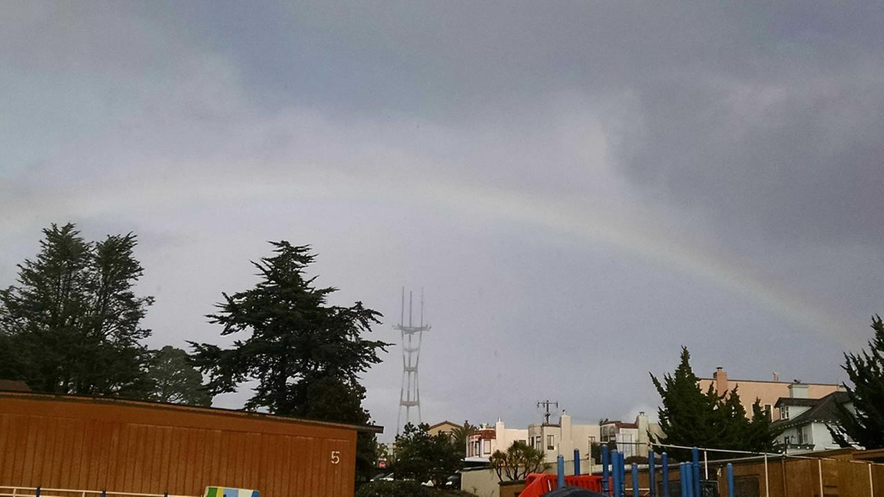A rainbow over San Francisco, Calif. on Tuesday, January 5, 2016.Photo submitted to KGO-TV by Annemarie Kurpinsky