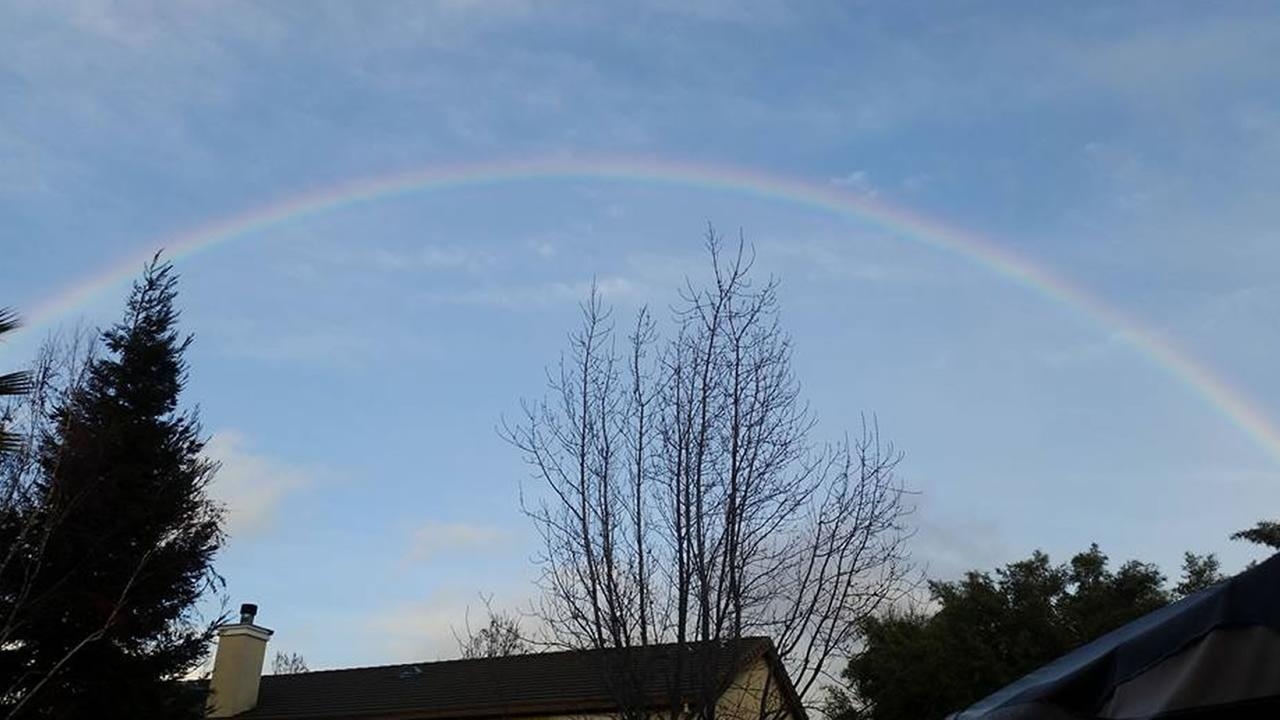 A rainbow over Fairfield, Calif. on Tuesday, January 5, 2016.Photo submitted to KGO-TV by Christina Beretta Zetterwall/Facebook