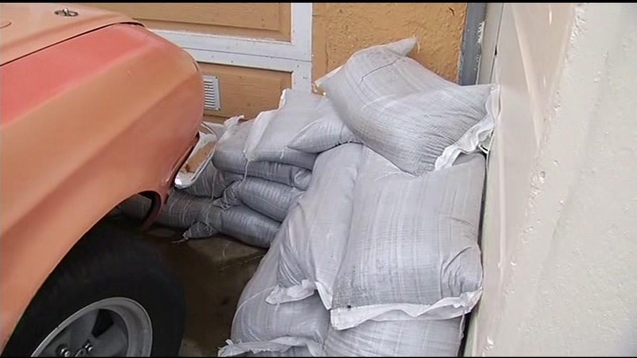Sandbags placed in front of homes in San Franciscos Glen Park neighborhood are seen on Wednesday, January 6, 2016.KGO-TV