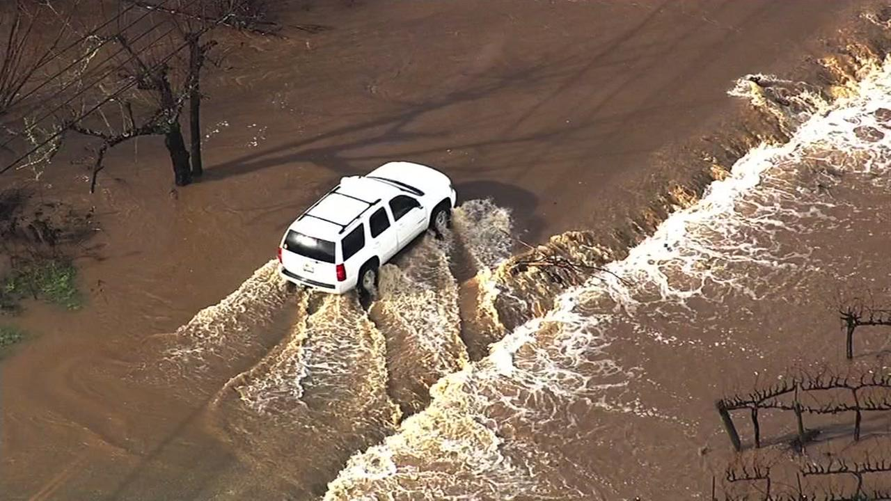 A storm turned this street into a river in Sebastopol, Calif. on Wednesday, January 6, 2016.KGO-TV