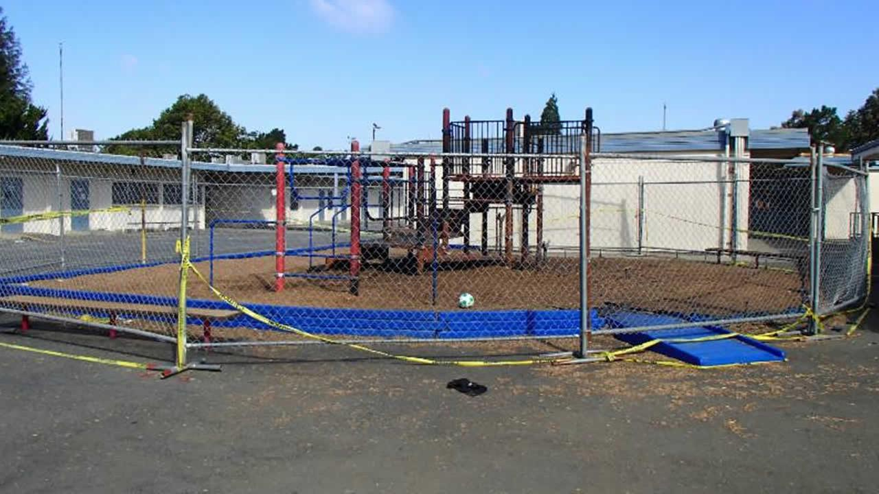 Fires damage playground at Loma Vista Elementary School in Vallejo.
