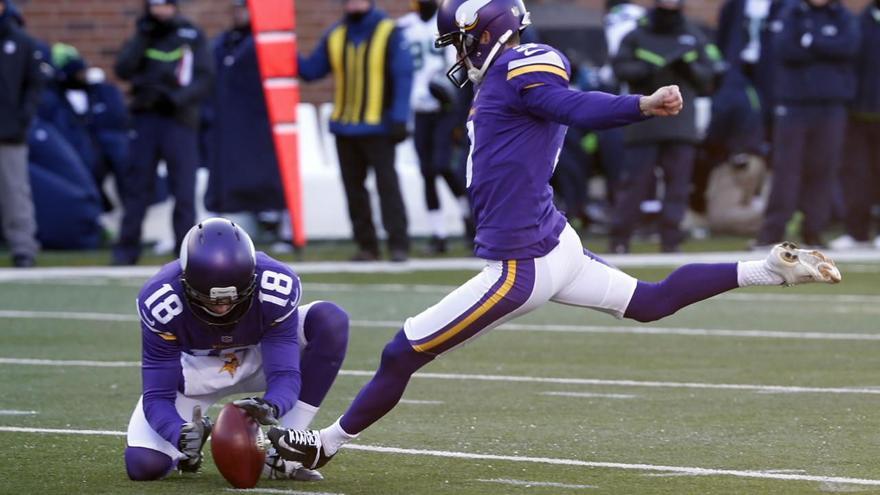 Vikings Blair Walsh kicks a field goal during the second half of an NFL wild-card football game against the Seattle Seahawks, Sunday, Jan. 10, 2016, in Minneapolis. (AP Photo)